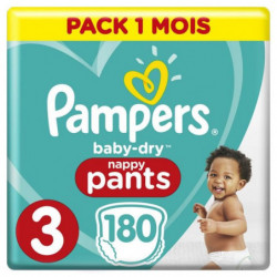 Pampers Baby-Dry Pants Taille 3, 180 Couches-Culottes
