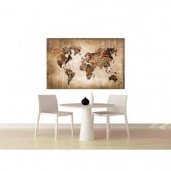 Tableau Carte du Monde - 80x50 cm - Impression sur toile