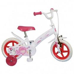 """Vélo Enfant fille - 12"""" -3/5 ans- Blanc et rose"""