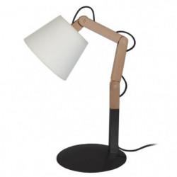 FREKI Lampe a poser en acier et Bois - Abat-jour Tambour Tissu