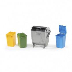 BRUDER - Assortiment de poubelles - 7 cm