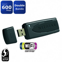 NETGEAR Adaptateur USB Wi-Fi N600 Double Bande. Vitesse 600