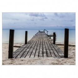 Image encadrée baguette minimaliste Quai plage - MDF - 51x71