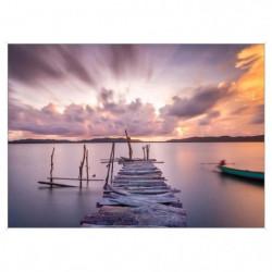 Image encadrée baguette minimaliste Quai tons roses - MDF -