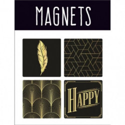 EMOTION Lot de 4 magnets style Precious Black - Noir et or