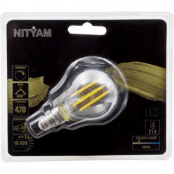 Ampoules LED E14 sphérique filament clair - 4 W équivalence