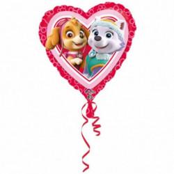 PAT'PATROUILLE Ballon - Aluminium - Coeur - Rose