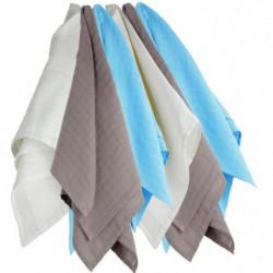 TROIS KILOS SEPT 1 Lot de 6 langes 70x70 cm Blanc / Marron /