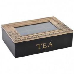 Boîte a infusion en bois et verre - 24x17x7 cm - Noir