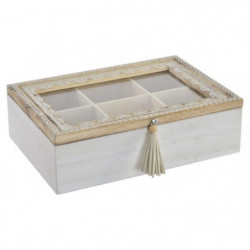 Boîte a infusion Mandala en bois et verre - 24x16x7 cm - Mar