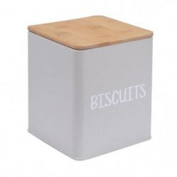 FRANDIS Boîte a biscuits en métal et bois - 9,5 x 9,5 x 14 c