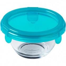 PYREX - BABY PLUS - Plat rond en verre avec couvercle bleu 1