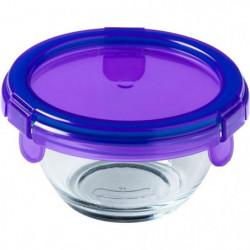 PYREX - BABY PLUS - Plat rond en verre avec couvercle violet