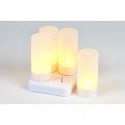 Set de 4 bougies LED + chargeur en PVC - H 10 x Ø 4 cm - Bla