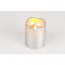 Bougie de Noël LED métallisée en cire et PVC - H 9 x Ø 7 cm