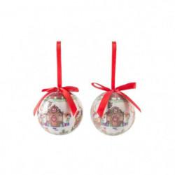 Set de 14 boules de Noël en PVC - Neige brillant