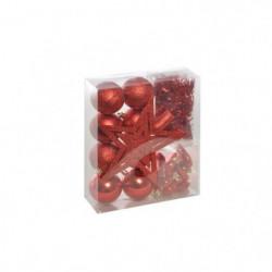 Set de 18 déco sapins - Rouge avec boule - Ø 6 cm