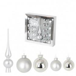Set de 19 boules de Noël en verre avec 1 cimier - Ø 6 / 5 cm