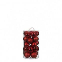 Boule incassable rouge 23 pieces - d8cm