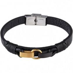 LOUIS VILLIERS Bracelet Cuir LVW18092B Noir et Doré Homme