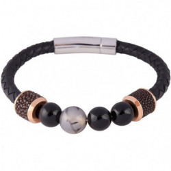 LOUIS VILLIERS Bracelet Cuir et Perles LVW18095B Noir Doré e
