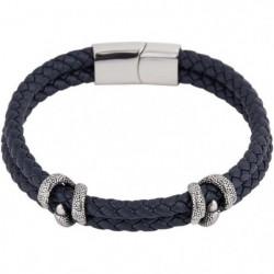 LOUIS VILLIERS Bracelet Cuir LVW18099B Bleu et Argenté Homme