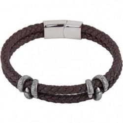 LOUIS VILLIERS Bracelet Cuir LVW18100B Marron et Argenté Hom