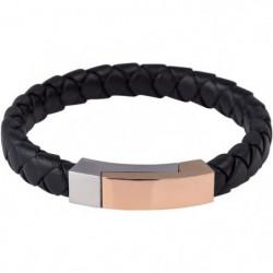 LOUIS VILLIERS Bracelet Cuir LVW18102B Noir Doré et ArgentéH
