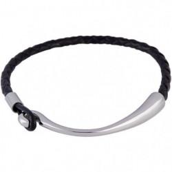 LOUIS VILLIERS Bracelet Cuir Tressé LVW18111B Noir et Argent