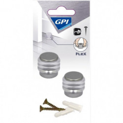 GPI Butée de porte Sol anneaux élastique - Gris métallisé