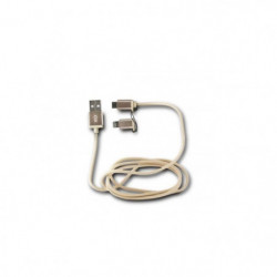 KSIX Cable USB 2en1 Micro USB + Lightning MFI Metal Or