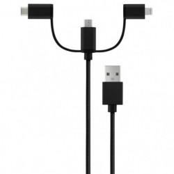 QDOS Câble USB 3 en 1 Noir