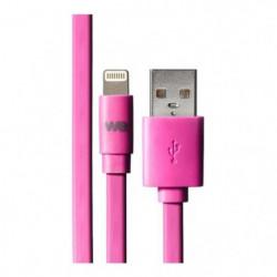 WE Câble USB/lightning plat fushia 1m