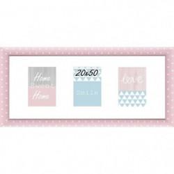 Cadre multivue - 3 vues - MDF - 20x50 cm - Rose et blanc