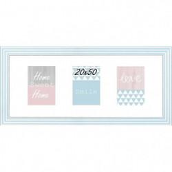 Cadre multivue - 3 vues - MDF - 20x50 cm - Blanc et bleu
