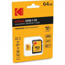 KODAK Class10 U1 Carte mémoire microSDHC - 64 GB - Avec adap