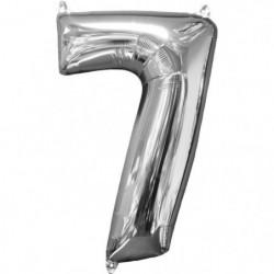 AMSCAN Ballon chiffre 7 - 51 x 66 cm - Argent