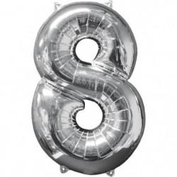 AMSCAN Ballon chiffre 8 - 51 x 66 cm - Argent