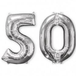 AMSCAN Lot de 2 ballons chiffre 50 - Argent