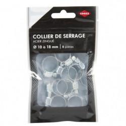COGEX Collier de serrage acier zingue - ø 10 à 18 mm - 8 pcs