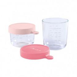 BEABA Lot de 2 portions verre 150ml et 250ml - Pink