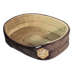 Panier mousse Patchy 55cm - Chocolat et taupe - Pour chien