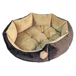 Panier octogonal 50cm - Chocolat et taupe - Pour chien