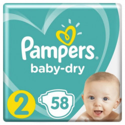 Pampers Baby-Dry Taille 2, 4-8 kg - 58 Couches