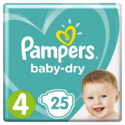PAMPERS Baby Dry Taille 4 - 8 a 16kg - 25 couches