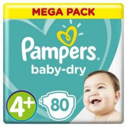 PAMPERS Baby-Dry Taille 4+, 10-15 kg - 80 Couches - Mega Pac