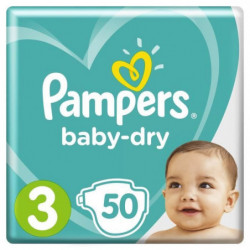Pampers Baby-Dry Taille 3, 6-10 kg - 50 Couches