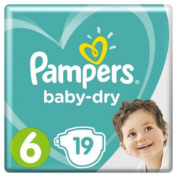 Pampers Baby-Dry Taille 6, 13-18 kg - 19 Couches