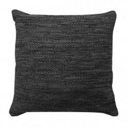 Coussin en cuir tressé Skin - 45 x 45 cm - Noir