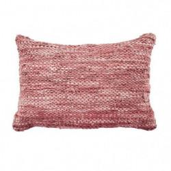 Coussin en cuir tressé Skin - 40 x 60 cm - Rose poudre